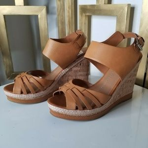 DV Dolce Vita Brown Tan Leather Cork Wedge Sandal